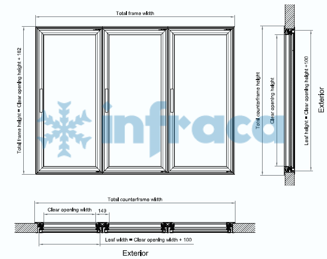 Чертеж стекляннного фронта для холодильной камеры